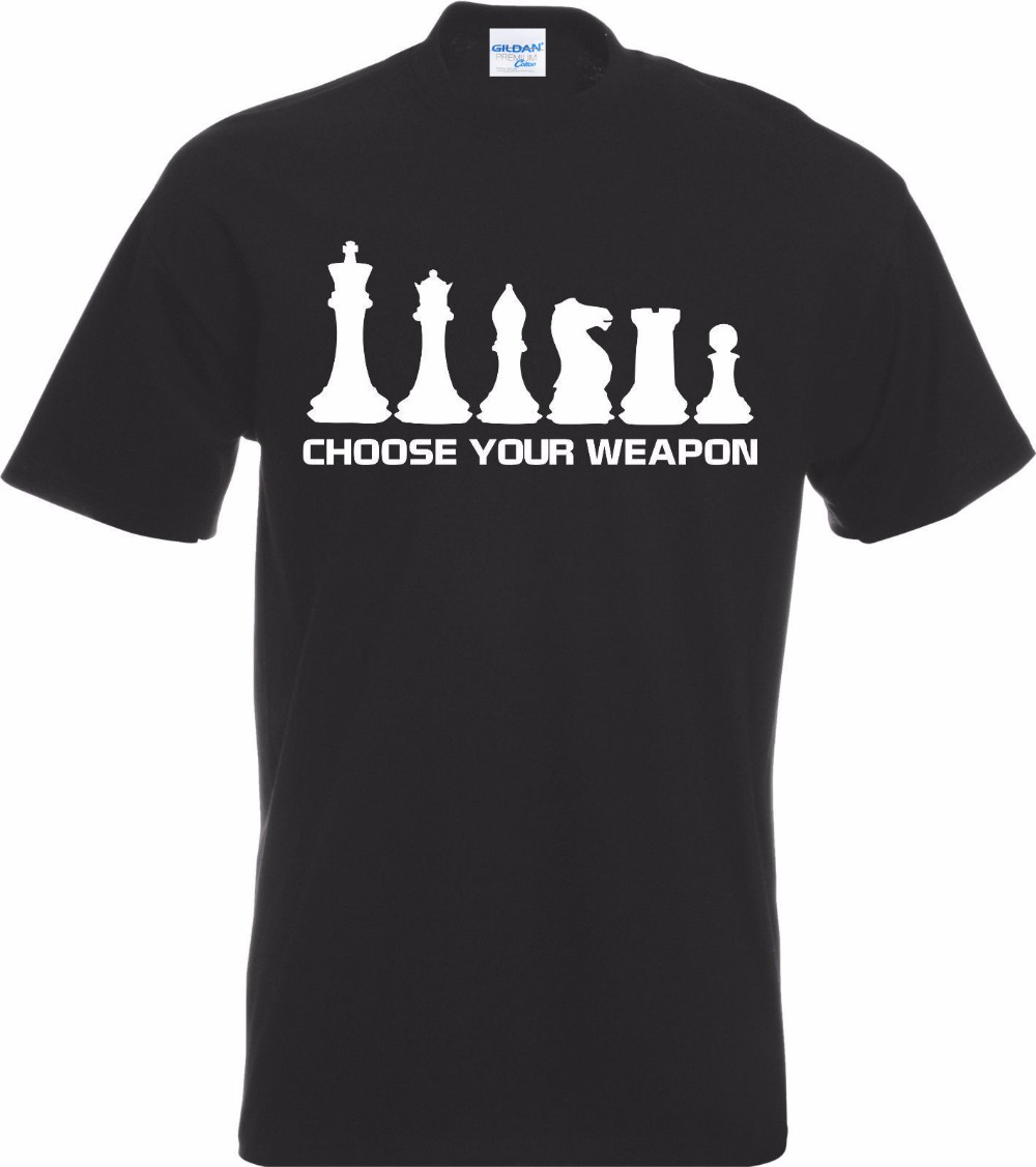 Summer Men O-Neck Print T-Shirts Hipster Tee Chess Player Choose Your Weapon T-Shirt design Tee Shirt image