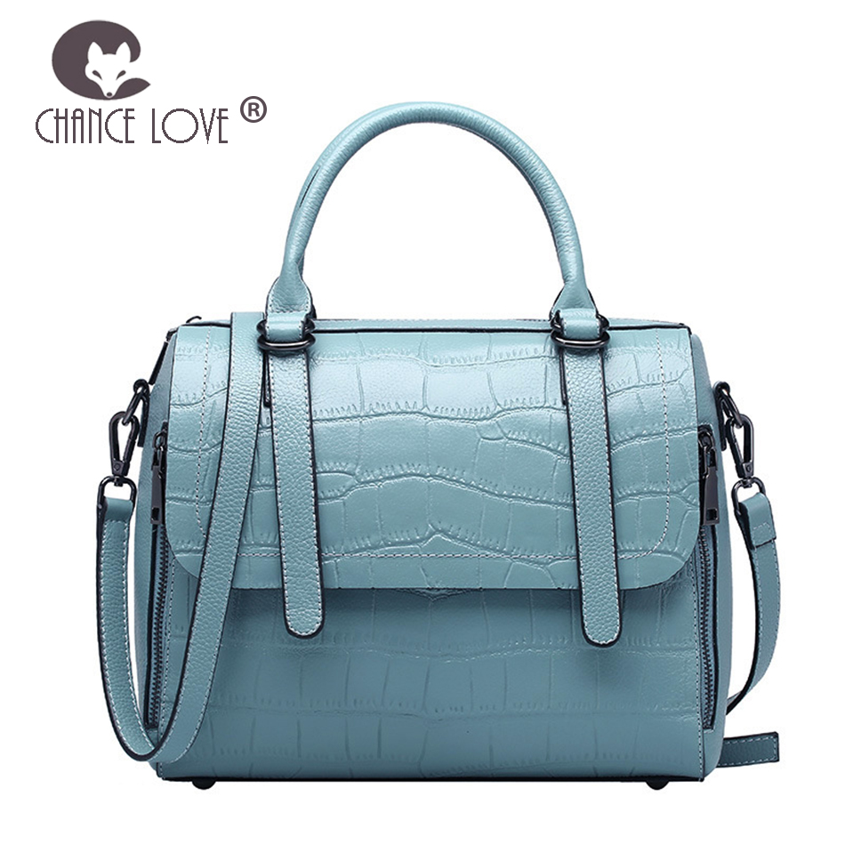 Chance Love 2018 summer new Genuine leather handbags fashion crocodile pattern shoulder bag portable Messenger women's handbags chance love 2018 new genuine leather women s handbag oil wax leather fashion wild crocodile pattern shoulder bag messenger bag