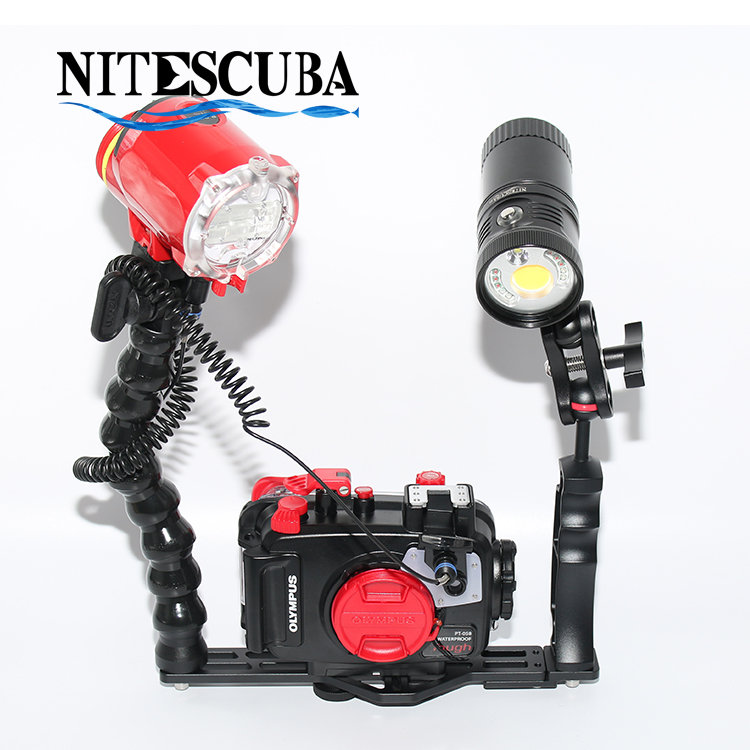 NiteScuba Diving Handle Tray Bracket Flex Arm For TG5 Rx100 Camera Housing S2000 Z330 YS D2 Strobe Light Underwater Photography