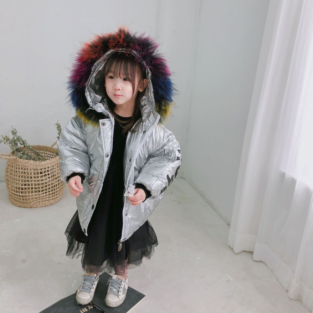 New Fashion Girls Winter Coat Kids Warm Thick Color Fur Collar Hooded Long Cotton Coats Children Cool Girl Warm Parkas Jacket women s thick warm long winter jacket women parkas 2017 fur collar hooded cotton padded winter coat female manteau femme 5l81