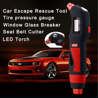 Car Rescue Tool Escape Tire Pressure Gauge Safety Hammer Life Saving Seat Belt Cutter Window Glass