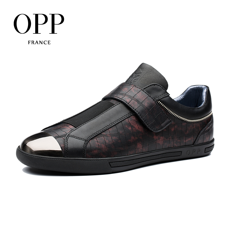 купить OPP New 2018 Men Shoes Loafers For Men Cow Leather Hook & Loop Flats Casual Shoes Cow Leather Loafers footwear for Men
