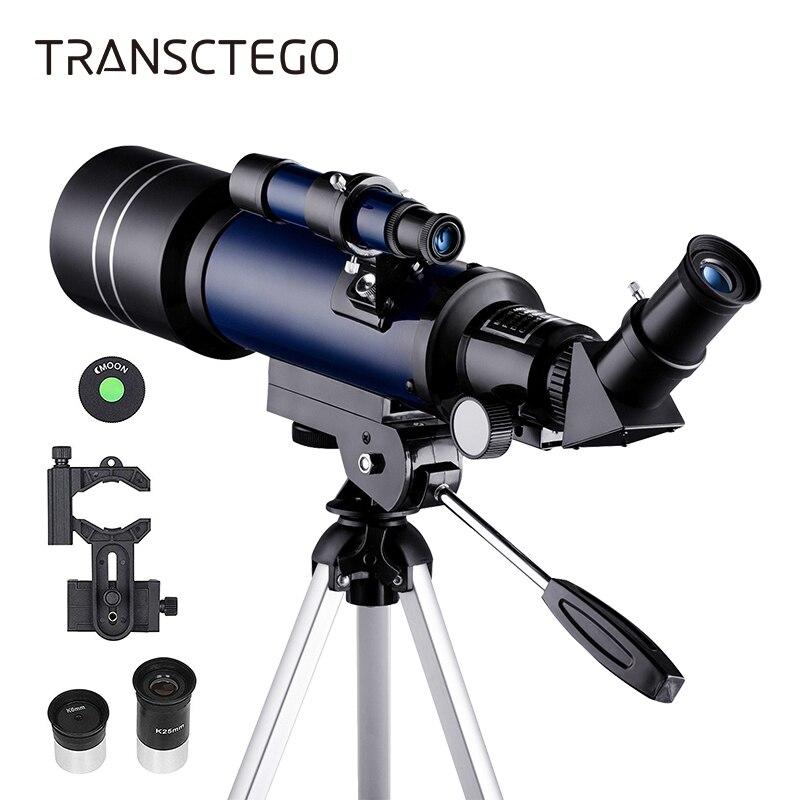 Télescope astronomique 70mm réfracteur télescope lune observation pour enfants adultes astronomie débutants 16X 67X lentille avec chercheur portée