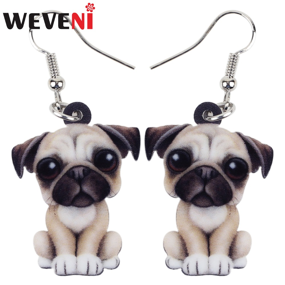 WEVENI Drop Acrylic Cartoon French Bull Pug Dog Big Long Dangle Earrings Fashion Animal  ...