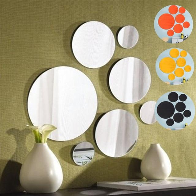 Hot set of 7 round mirror sticker glass wall mount bathroom mirror home decor