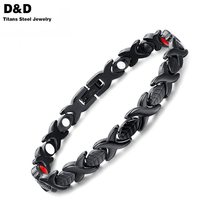 Women Bracelet Bangle Magnetic Health Fashion Jewelry Black Stainless Steel Hand Chain For Girlfriend SBRM-030