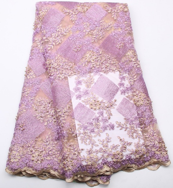 african lace fabric Cheap price Good Quality Beaded Purple ...