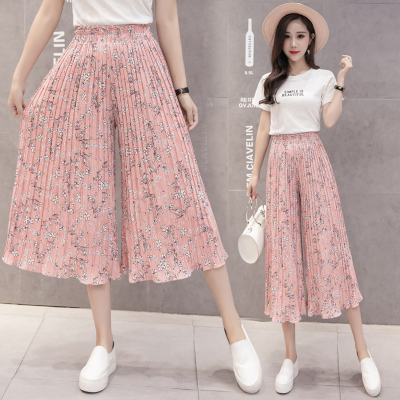 Chiffon Pants Spring Summer Female High Waist Loose Thin Pants Wide Leg Pant Print Pleated Elastic Waist Trousers