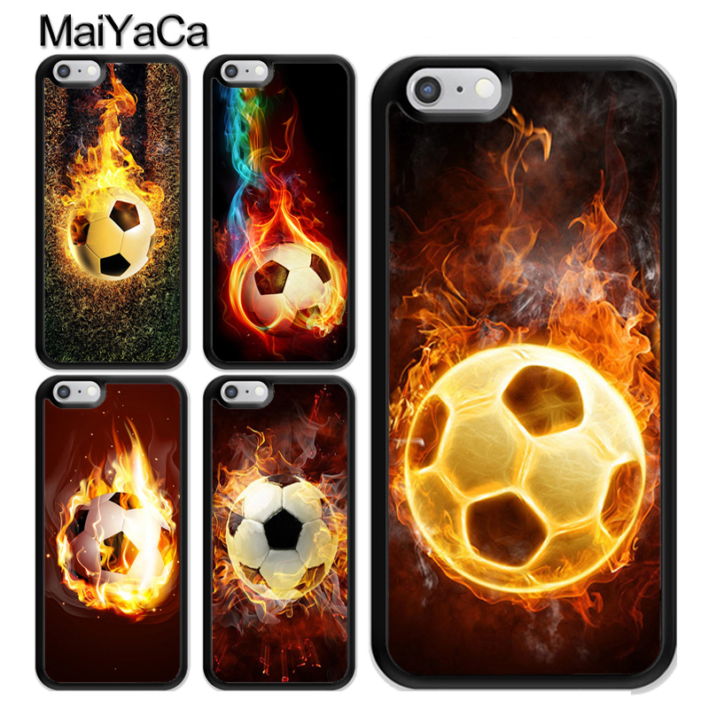 MaiYaCa Fire Football Soccer Ball For iPhone 6 6s TPU Plastic Phone Case For iPhone X 7 8 Plus 6 6s 5 5s SE Back Cover Coque