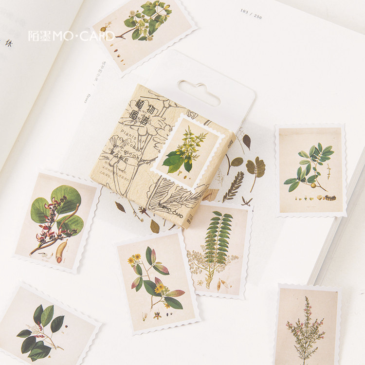 45 PCS/box New Plant Map Album Paper Lable Stickers Crafts And Scrapbooking Decorative Lifelog Sticker Cute Stationery 38 pcs stickers bag diy cute happy birthday scrapbook paper stationery crafts and scrapbooking decorative sticker for decoration