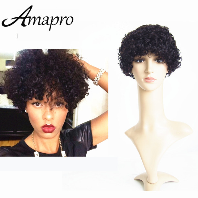 Super Short Hairstyles 2016 Human Curly Lace Front Wigs 6inch Black