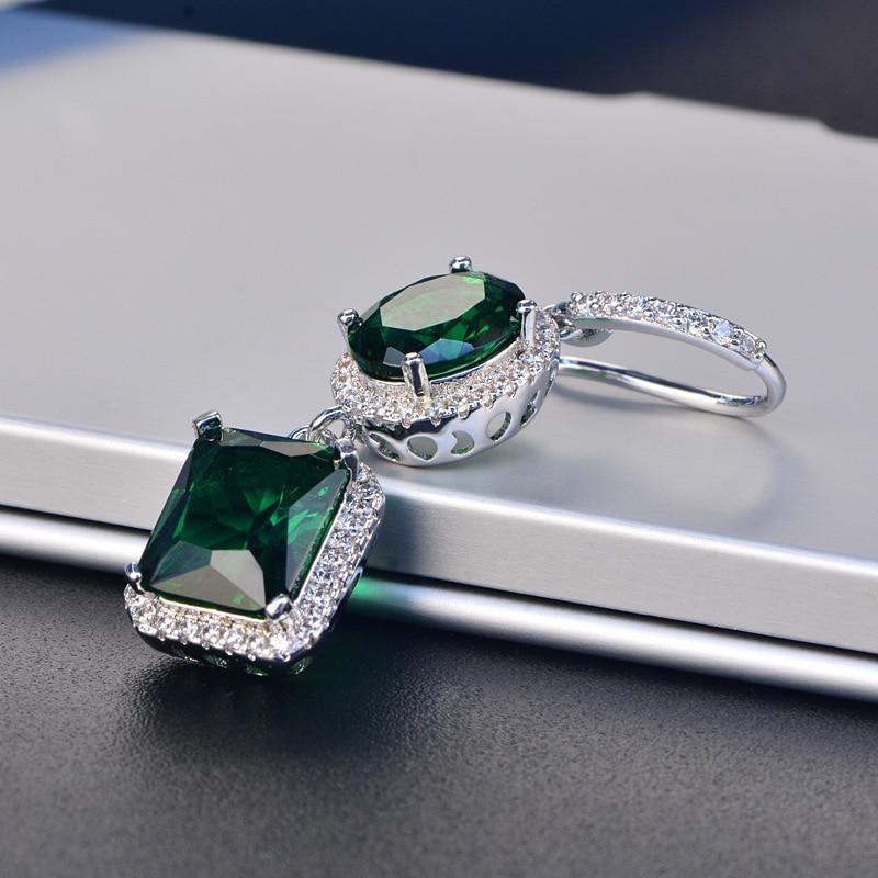 HTB1WKbDSmzqK1RjSZPcq6zTepXan PANSYSEN 2019 Luxury Natural Emerald Women's Drop Earrings Genunie 925 silver Jewelry Earrings For Women Party Engagement Gifts