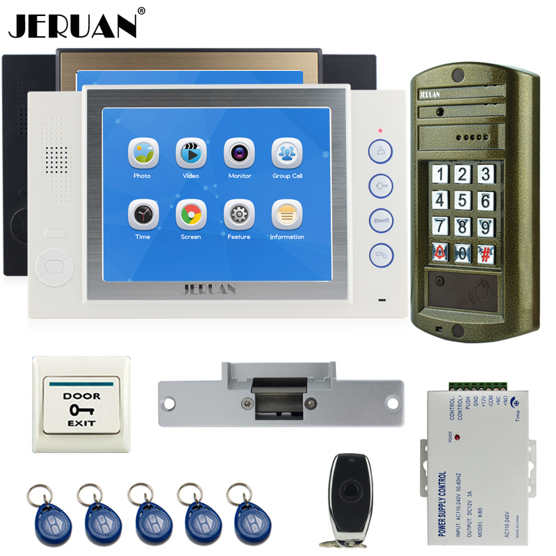 JERUAN Wired 8 inch Video Door Phone Record Intercom System kit 2 Monitor + NEW Waterproof Password HD Mini Camera 8GB TF Card jeruan 8 inch tft video door phone record intercom system new rfid waterproof touch key password keypad camera 8g sd card e lock