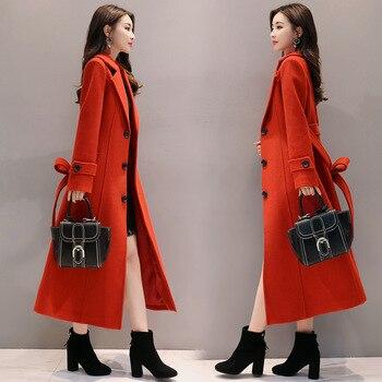 woolen coat women 2019 long section wild red woolen overcoat female long spring autumn winter slim blend woolen outerwear