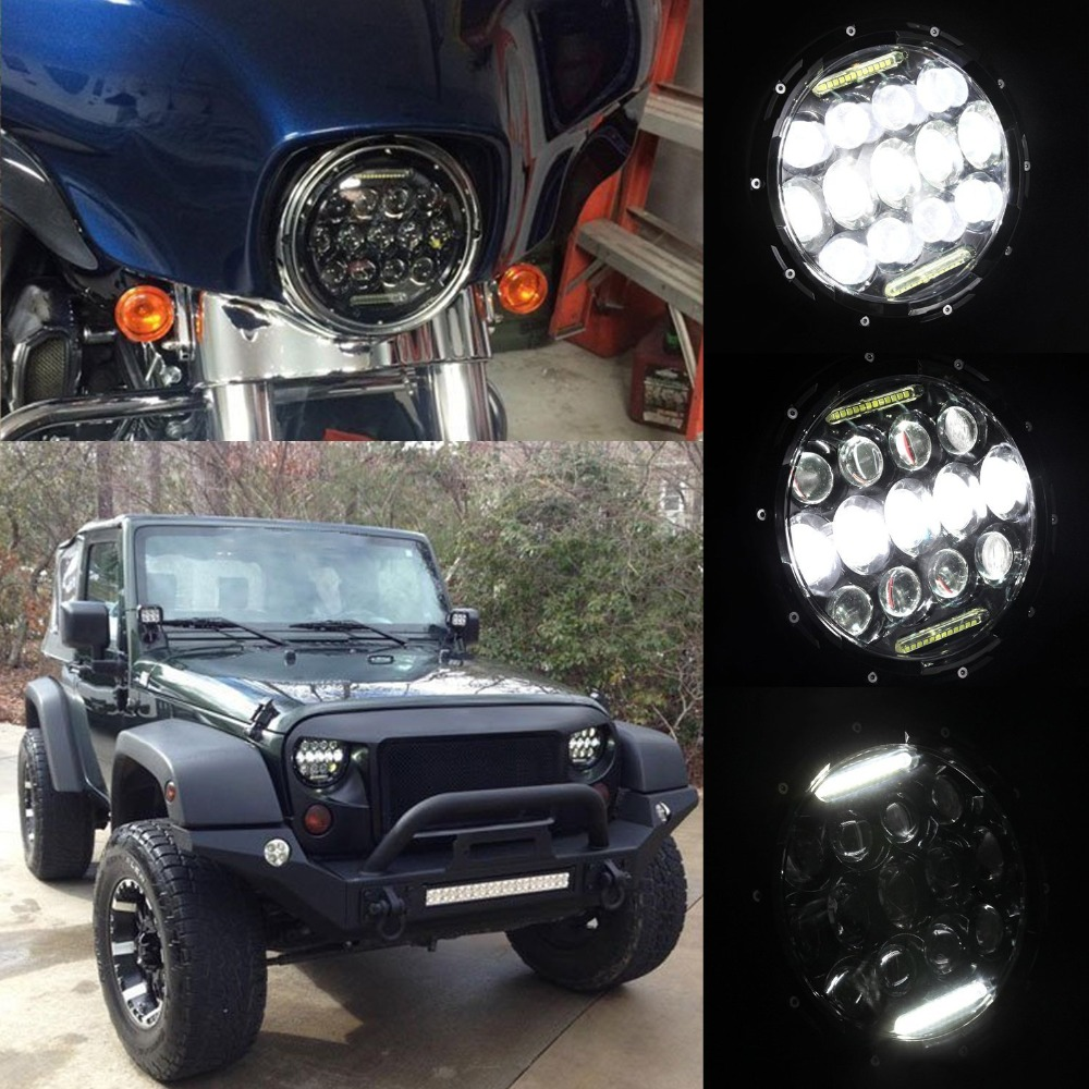 2x 7inch 75W LED Headlights Bulb Halo DRL for Jeep Wrangler JK CJ LJ for Hummer H1 H2 LED Headlamp Projector Driving Lamps windshield pillar mount grab handles for jeep wrangler jk and jku unlimited solid mount grab textured steel bar front fits jeep