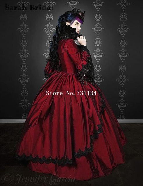 19th Century Wine Red Marie Antoinette Renaissance Vampire Gothic Victorian Period Dresses Satin Ball Gown Reenactment Costumes