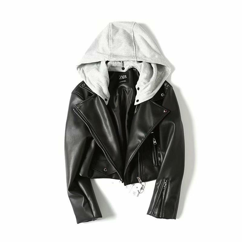 2019 Spring New Short Faux Soft Hooded   Leather   Jacket Women Fashion Zipper Motorcycle PU   Leather   Jacket Ladies Basic Street Coat