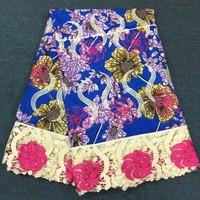 6Yards/pc New fashion blue background cotton wax fabric african water soluble lace embroidery for dress B3 6