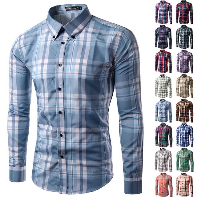 Long sleeve men plaid dress shirt Casual