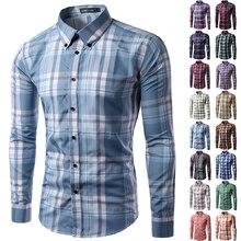 Новинка 2017 Брендовые мужские рубашки с длинным рукавом Camisa soical masculina мужская клетчатая рубашка Повседневное CHEMISE Homme большие размеры M-3XL