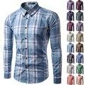 2017 nuevos hombres de la marca camisa de manga Larga camisa masculina soical red del mens plaid dress chemise homme camisa Ocasional más el tamaño M-3XL