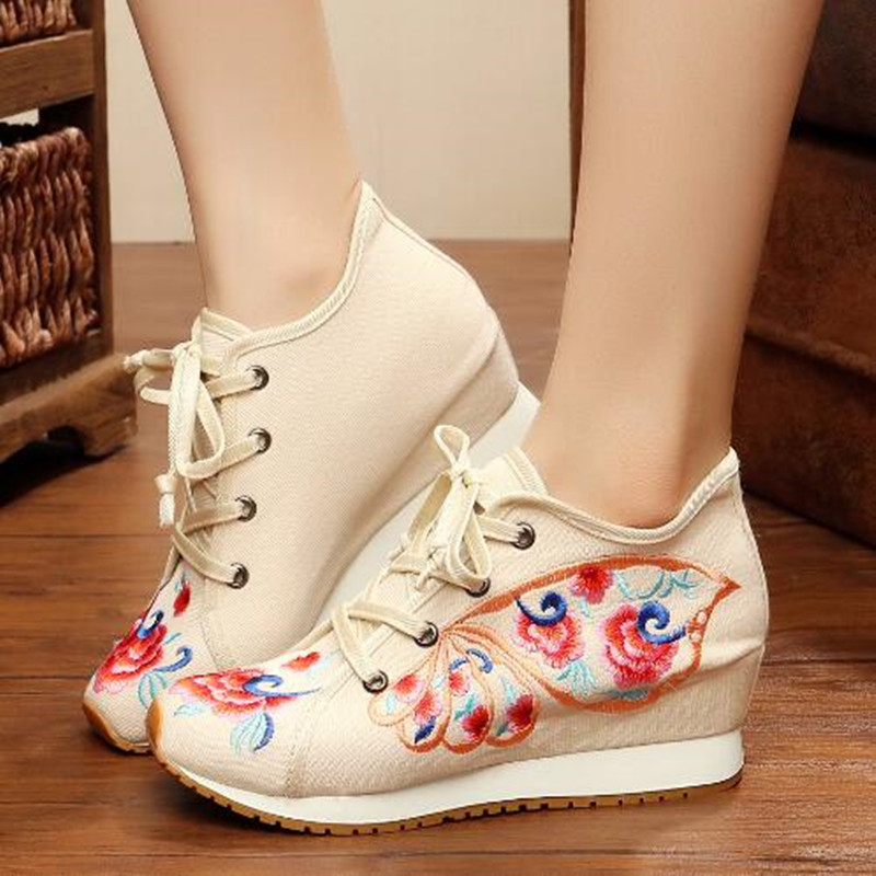 Retro Flower Embroider Lace up Canvas Shoes for Women Round Toe Ethnic Flat Autumn Ladies Loafers Runway Shoes Casual Sneakers 3