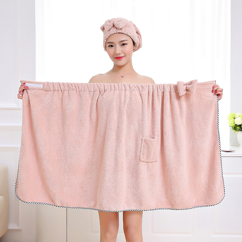 FLC Bowknot Women Bathroom Super Absorbent Quick-drying Microfiber Bath Towel Bath Robe Hair Towel Hair Dry Cap Set 15