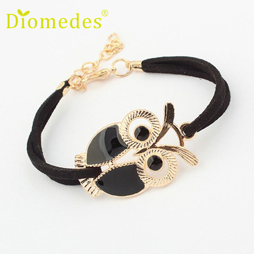 Bracelets: Best seller Diomedes Free Shipping High quality Korean Fashion Womens Girls Vintage Owl Decoration Faux Leather Bracelets Jun17