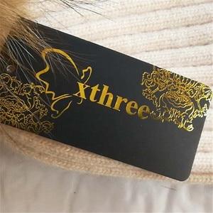 Image 5 - Xthree zimowa wełniana czapka z dzianiny czapka prawdziwa norka futro pompony czapka z czaszkami dla kobiet dziewczynki kapelusz feminino