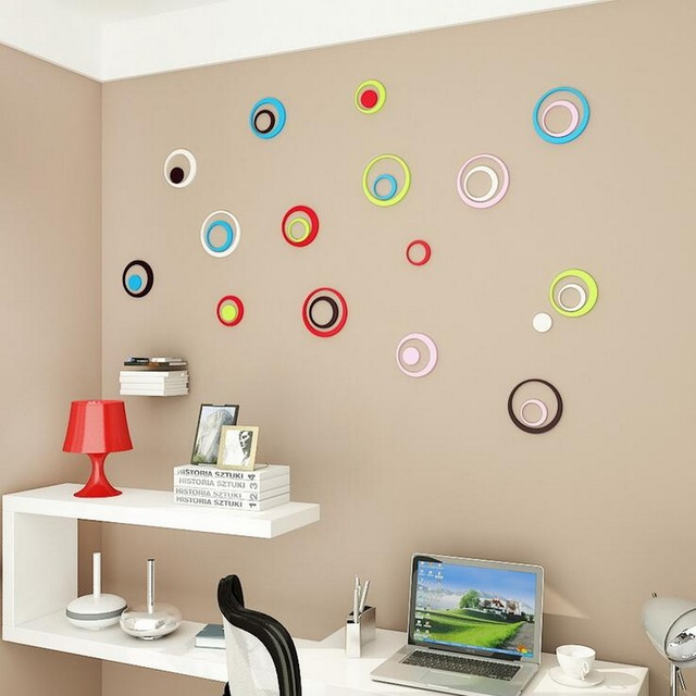 Round shape removable wooden wall stickers diy wall stickers living room background decor mural decal wallpaper