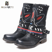 Retro Style Embroider Patchwork Genuine Leather Low Heel Boots Round Toe Zipper side Mid High Boots With Warm Plush Inner