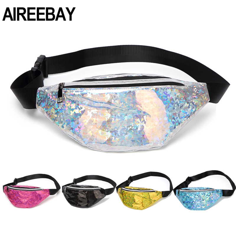 AIREEBAY Sequins Holographic Fanny Pack Pink Sliver Waist Pack Women's Laser Chest Waist Bag Women Travel Belt Bag