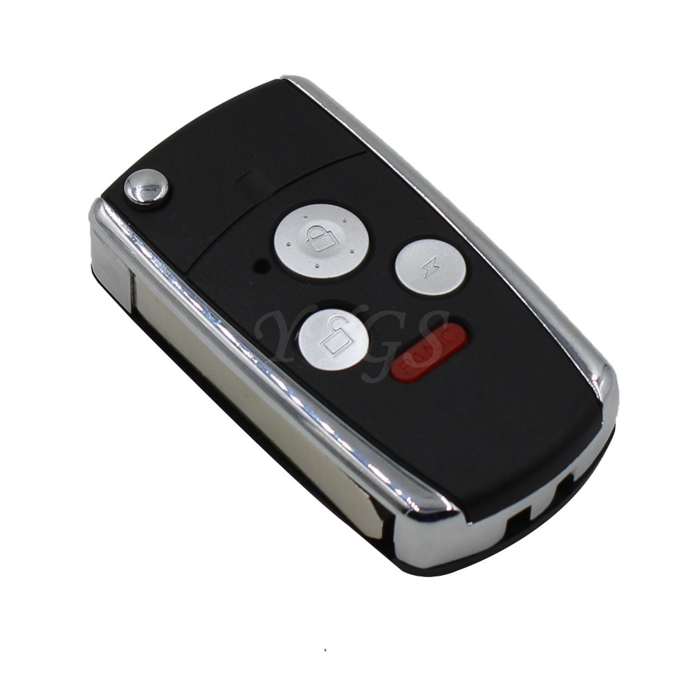 3 + 1 Panic 4 Button Remodel Case Flip Folding Remote Key Shell Cover Fit For Honda Accord Civic Pilot CRV Ridgeline Uncut Blade