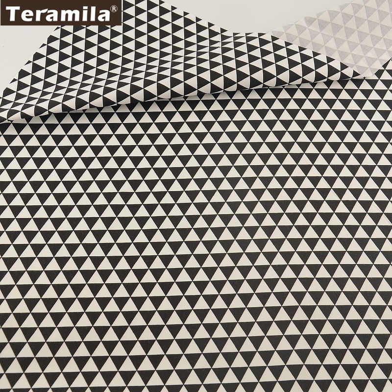 Sábana de retazos de tela de algodón diseños de geometría negra 145cm de ancho textil para el hogar TERAMILA tela de lino Material acolchado