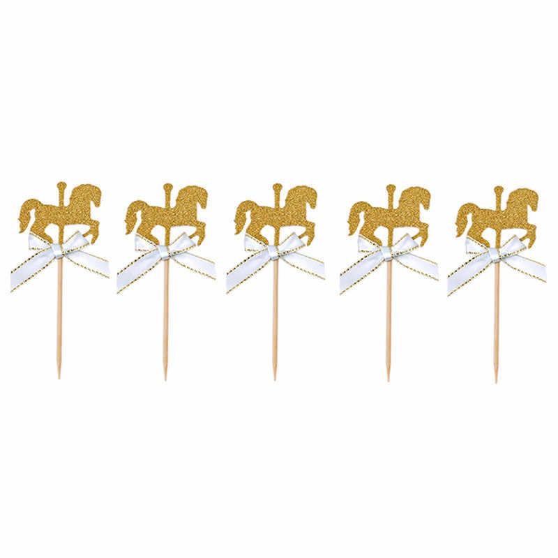 5 قطعة لتقوم بها بنفسك اليدوية كعكة ديكور ميدالية على شكل حصان قطاعات الكيك مع ربطة القوس فيونكة بريق الذهب كاروسيل حفل زفاف عيد ميلاد كعكة ديكور