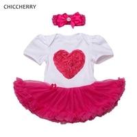 هوت بينك روز 3d الحب عيد الزي طفل الرباط رومبير اللباس العصابة الوليد طفلة الملابس vestidos الطفلية