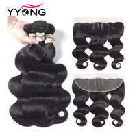 Yyong Hair 3 Bundles Brazilian Body Wave With Frontal Non Remy Human Hair Bundles With 13X4 Ear To Ear Lace Frontal