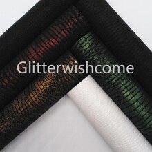 Glitterwishcome 21X29CM tamaño A4 vinilo para arcos Vintage en relieve cuero de cocodrilo Fabirc hojas de cuero de imitación para arcos, GM023B