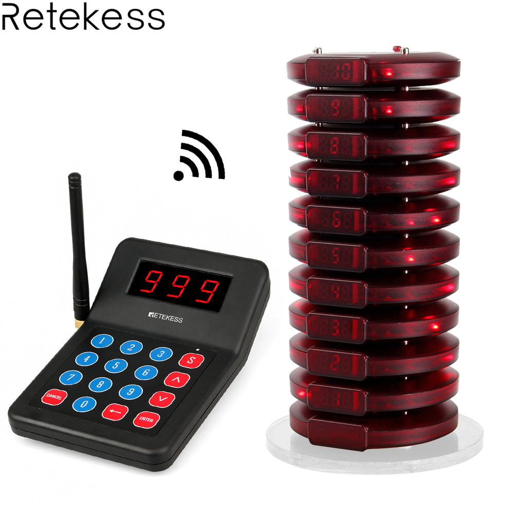 Retekess T119 999 Channel Restaurant Pager Wireless Calling System 10 Coaster Pager 1 Transmitter Customer Service