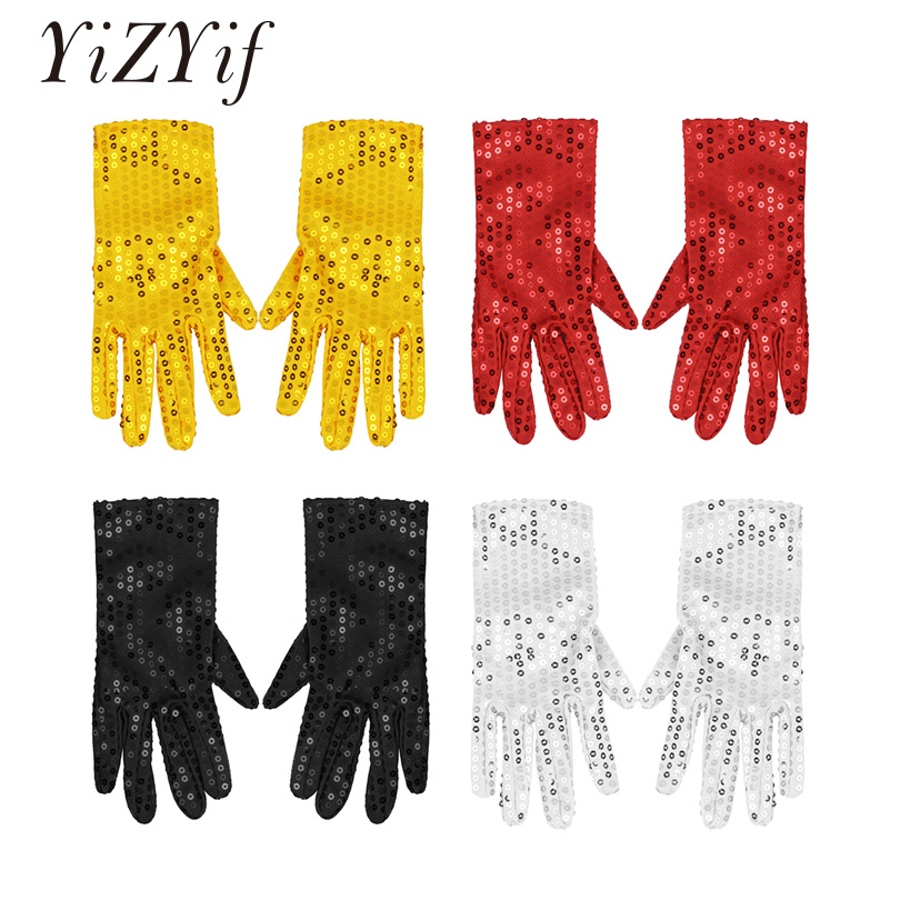 YiZYiF Adults Unisex Sparkling Sequins Dance Gloves Cosplay Costume Mittens for Stage Performance Halloween Xmas Birthday Party