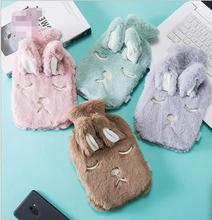New mini water injection hot water bottle rabbit hair warm baby GB rubber cloth set warm bag hand warmers 1000ml