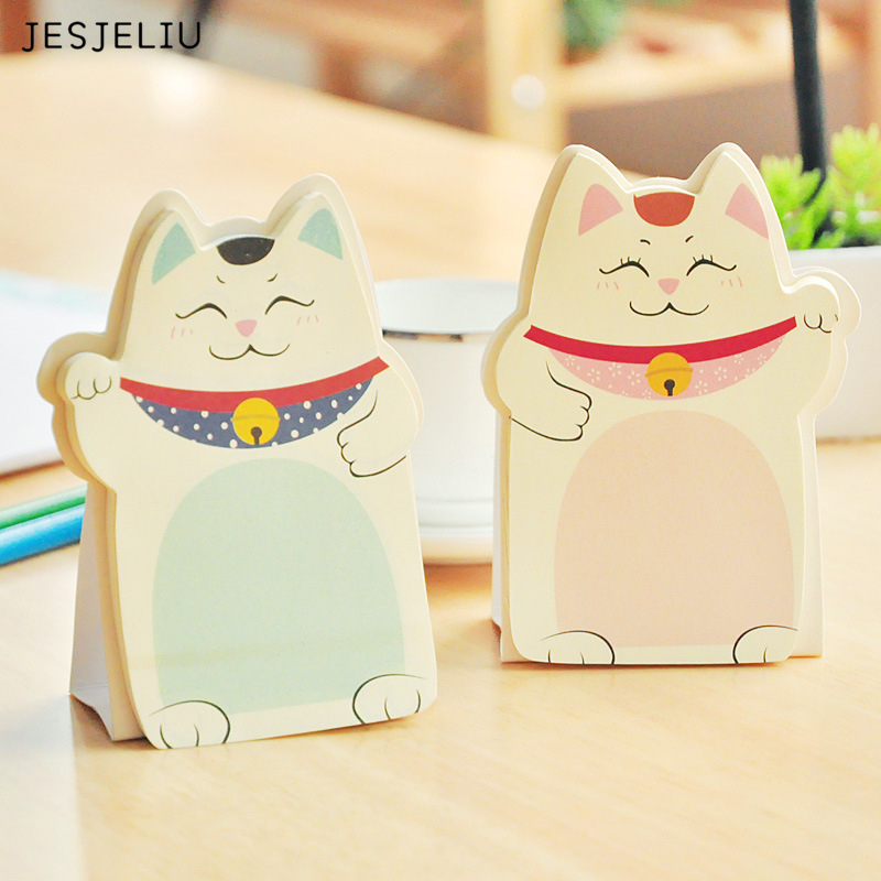 1Pc 2017 new DIY Lucky Cat memo pad Sticky label school sticky note for school office supplies stationery wholesale все цены