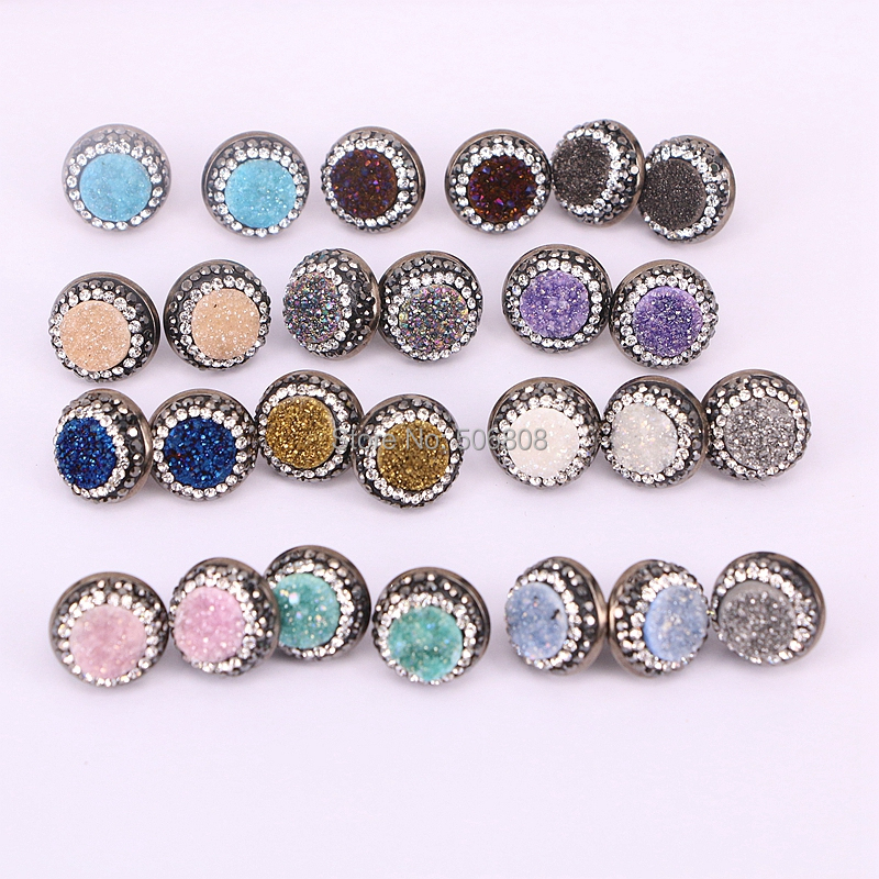 10Pairs Nature titanium drusy quartz stone stud earrings gun metalblack color pave cz bezel stone earrings