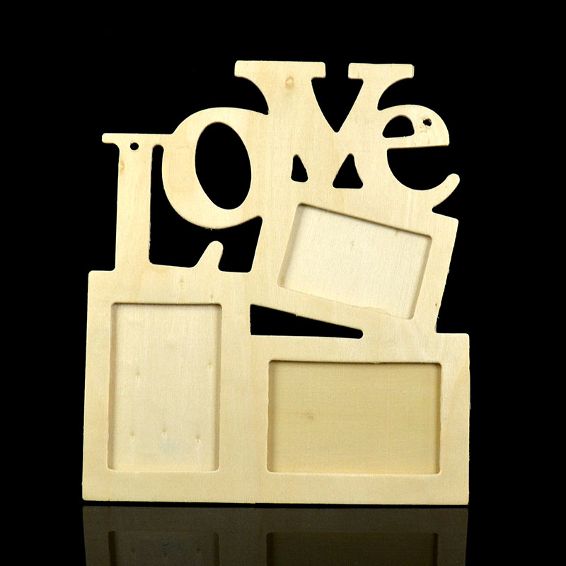 lot 3pcs photo frame hollow love wooden white base diy picture frame art decor free shipping