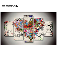 ZOOYA 5D Diy Diamond Painting Love Floral Pictures Of Rhinestones 5PCS Square Cross Stitch Home Decorative