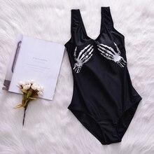 Летний сексуальный бандажный черный слитный купальник с принтом черепа, женский спортивный купальник, горячая Распродажа пляжной одежды для девочек, купальный костюм для бассейна