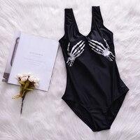 Mano del cráneo imprimir verano sexy vendaje negro Vestidos bañadores deporte de las mujeres del traje de baño caliente Niñas playa piscina traje de baño