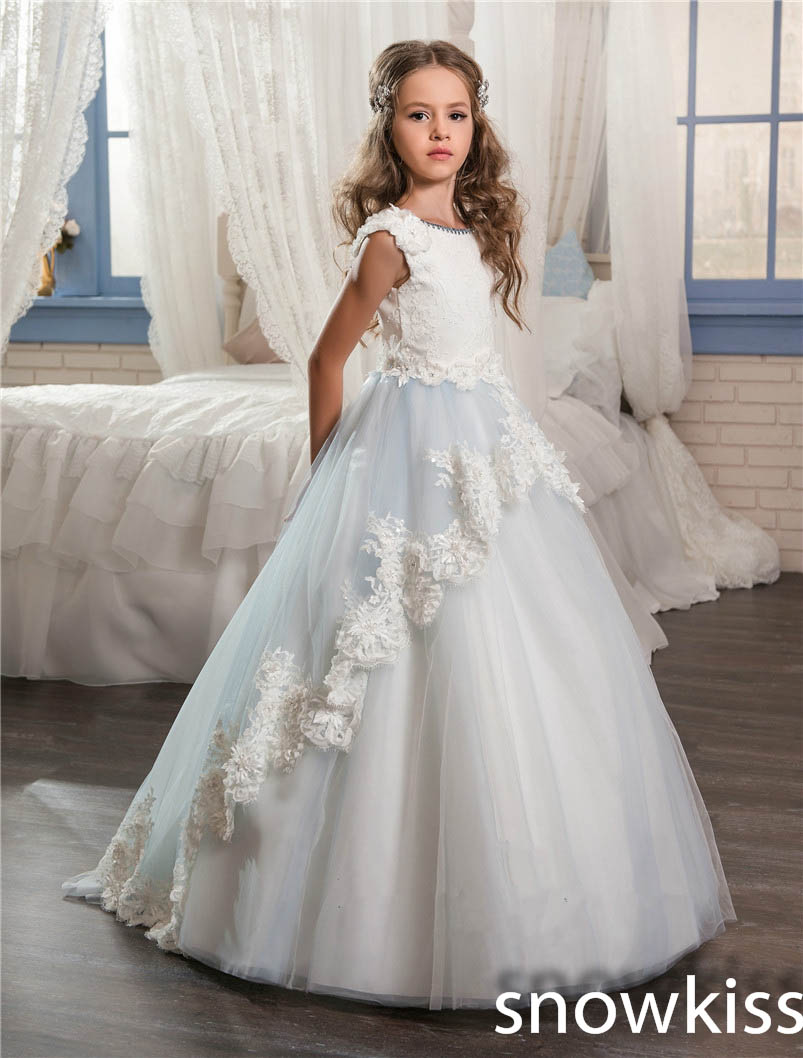 Baby blue and white flower girl dress with lace appliques crew neck tulle ball gown junior pretty pageant dresses with train