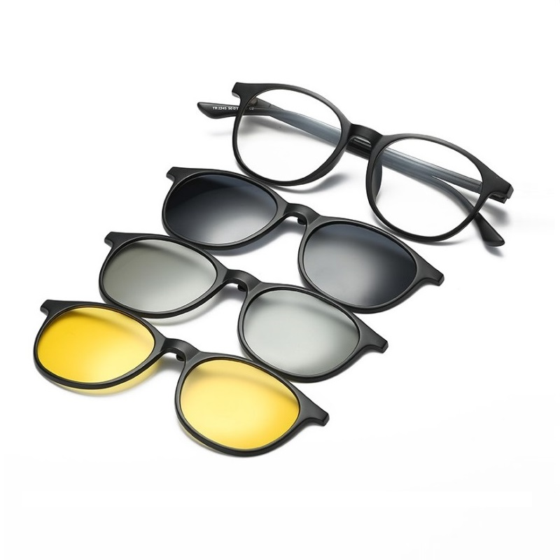 width 136 New magnetic set mirror men women 3+1 TR90 frame myopia sunglasses fashion polarized 3D night vision sunglasses frames
