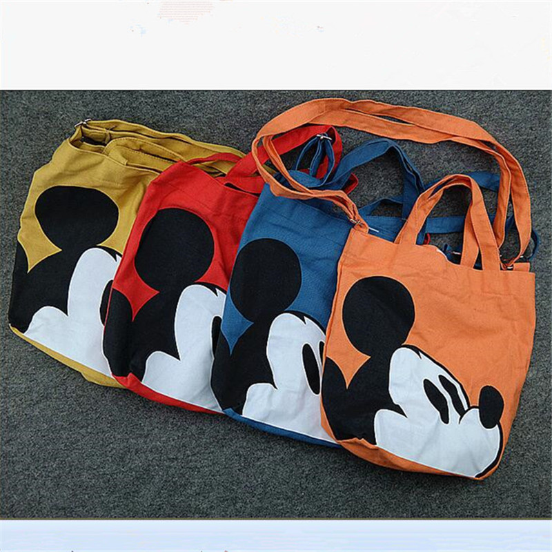lovely Mickey shoulder bag cartoon printing Vecro canvas family handbag cute women boy school